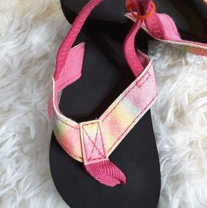 3/$15 OP pink multi flip flop sandals size M 7-8